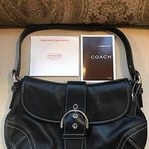Coach Hampton Soho Hobo 9248 Black Leather Buckle Flap Shoulder Handbag Nwot Photo