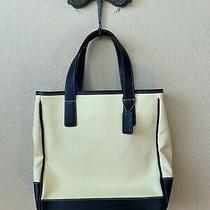 Coach Hampton Tote Canvas and Black Leather Purse Shoulder Bag  7706  Excellent Photo