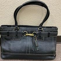 Coach Hamptons Black Pebbled Leather Shoulder Belted Tassel Tote Purse Bag Photo