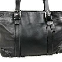 Coach Hamptons Black Soft Leather Laptop Diaper Large Tote Bag F10288 Photo