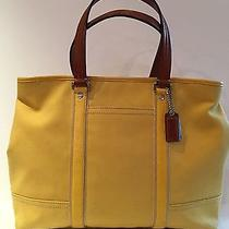 Coach Hamptons Large Yellow Canvas Tote Photo