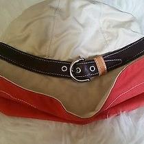 Coach Hamptons Leather & Cotton Twill Beige Buckle Trim Bucket Hat M/l Photo