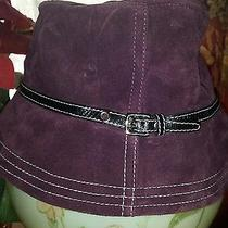 Coach Hamptons Leather Suede Purple Bucket Hat Size P/s  Excellent Condition Photo