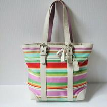 Coach Hamptons Multi-Colored Striped Lunch Tote Purse 10705 Photo