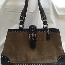 Coach Hamptons Suede Camel Mahogany Large Carryall Satchel (Style F12620)  Photo