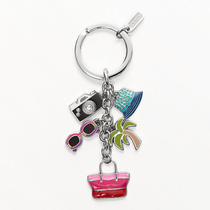 Coach Hamptons Weekend Multi Mix Key Ring Style F93141 Sv/multicolor Photo