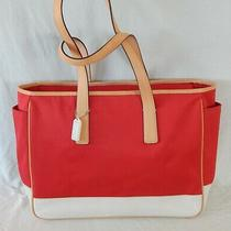 Coach Hand Bag Red Canvas & White Leather Trim Large Tote Unused Photo