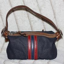 Coach Hand Bag Satchel Purse Leather & Blue Denim  Photo