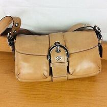 Coach Handbag 2 Pocket Purse Soho Buckle Flap  Tan Hand Bag Shoulder Bag Photo