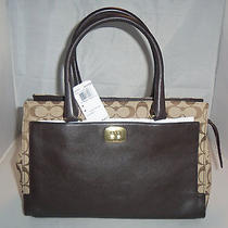 Coach Handbag 25371 Legacy Signature Chelsea Carryall Satchel  Khaki / Mahogany Photo