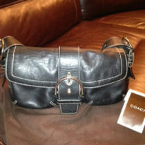  Coach  Handbag Black Leather With  Silver Buckle  Photo