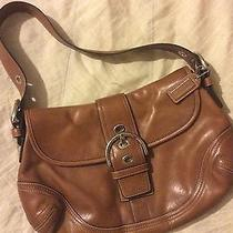Coach Handbag Brown Leather With Gold Buckle Detail Photo