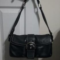 Coach Handbag Glove Leather Soho Shoulder Bag With Silvertone Buckle - Black Photo