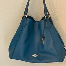 Coach Handbag Leather Blue Photo