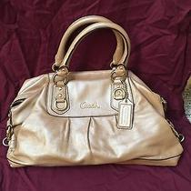 Coach Handbag Metallic Gold Shoulder Satchel Photo