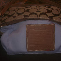 Coach Handbag Monogram Light Browauthenticsmallgood Conditionused Has a Dus Photo