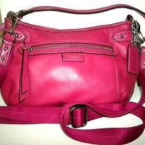 Coach Handbag No. F23978 Pretty Small Fuchisa Leather Crossbody Bag in Euc Photo