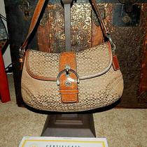 Coach Handbag Purse F12309 Soho Hobo Signature Flap British Tan Leather Euc Coa Photo