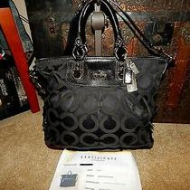 Coach Handbag Purse Julianne 12963 Black Leather Bag Signature Op Art Coa Euc Photo
