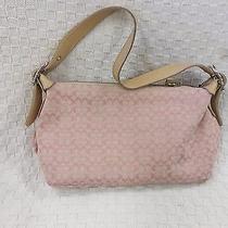 Coach Handbag Purse Pink Cloth & Leather W/ Small c's Photo