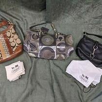 Coach Handbag Purse Pocketbook Lot of 3 Gray Black Brown Used Covers  Photo