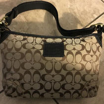 Coach  Handbag Purse Signature Tan and Black Leather Photo