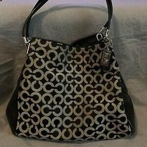 Coach Handbag Purse Tote Signature C Black & Tan Leather Shoulder Bag Fs Charity Photo