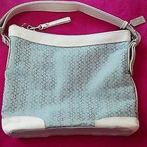 Coach Handbag- Satchel- Blue and White - New 10.5 X 13