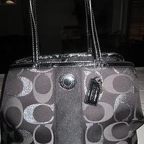 Coach Handbag Signature Black and Silver Photo