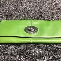 Coach Handbag Small Green Leather Turnlock Clutch Photo