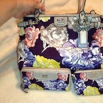 Coach Handbag &wallet & Wristlet Ashley Floral Print Set Photo