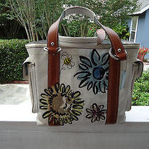 Coach Handbag White Tote With Flowers Bees & Leather Trim F-10870 Very Rare Photo