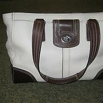 Coach Handbag White With Brown Handles and Other Areas Photo
