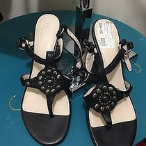 Coach Harper Wedges Black Leather Silver Studded Sandal Thong Stacked 9 168 Photo