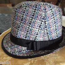 Coach Hat  Blue Wool Tweed Fedora New Without Tags Gorgeous Photo