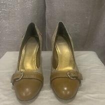 Coach Havana Signature C Classic Leather Buckle Cap Toe Heel Pumps Size 9.5 Photo