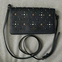 Coach Hayden Foldover Crossbody Clutch Prarie Rivets - Navy Blue - Pre Owned Photo