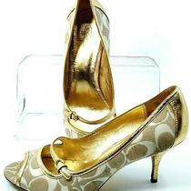 Coach Hayes Pump Womens Size 8b Gold Fabric Leather Signature Logo Peep Toe Heel Photo