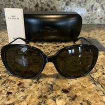 Coach Hc 8215f 548287 Womens Black Frame Dark Grey Lens Sunglasses New Photo