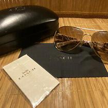 Coach Hc7059 92496e Gold Wild Beast Ivory 58 Mm Women's Sunglasses Case & Cloth Photo