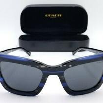 Coach Hc8203 L1630 Cateye Blue Glitter Varsity Stripe 5422-140 Sunglasses 3156 Photo