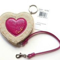 Coach Heart Applique Novelty -Key Ring- Patent Leather Heart-Coin Purse-Nwt-Rare Photo