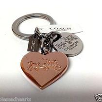 Coach Heart Key Ring Horse & Carriage Logo Rose Gold Silver Charm 63381 Nwt Photo