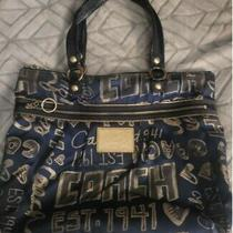 Coach Heart Poppy Hobo Handbag Purse Satchel Blue / Gold Shimmer Authentic Photo