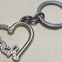 Coach Heart Script Pave Crystal Pink Key Fob Keychain Ring Charm Photo