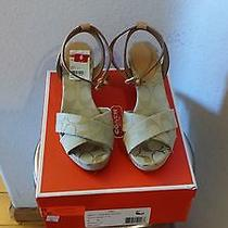 Coach Henley Light Khaki Signature & Leather Wedge Sandals Photo
