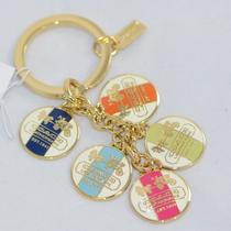 Coach Heritage Discs Key Fob Chain Ring Gold/multicolor Charms Hang Tag F92305 Photo