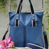 Coach Heritage Large Web Leather Foldover Business Tote F70558 Messenger Purse  Photo