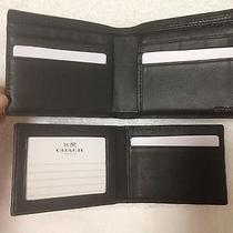 Coach Heritage Sport Compact Id Wallet Mens - F74792 - Slate Black - Nwt 178 Photo