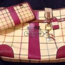 Coach Heritage Stripe Tattersal Collection Tote Combo  no.a0868-12220 Photo